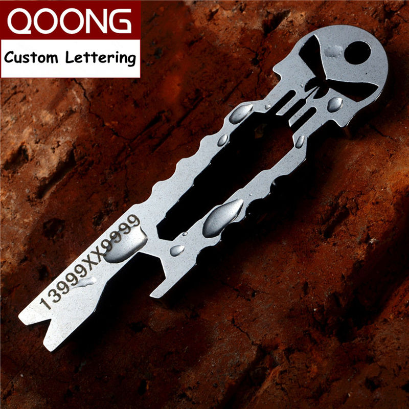QOONG Punisher EDC Multi Fungsi Alat Keychain dengan Wrench Crowbar Pemutar skru Bottle Opener Skeleton Key Chain Ring Holder H03