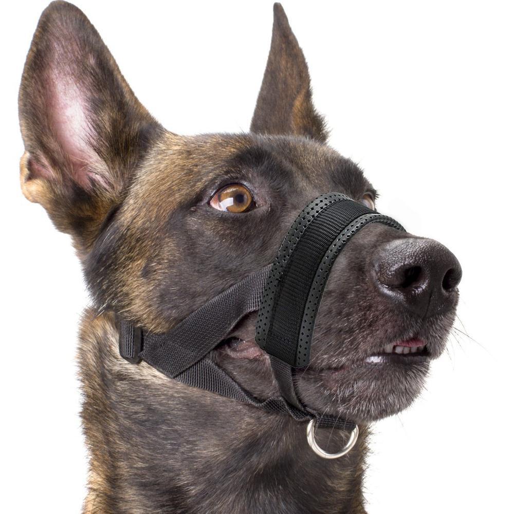 Adjustable Nylon Dog Muzzle with Soft Padding Black Household Pet Supplies