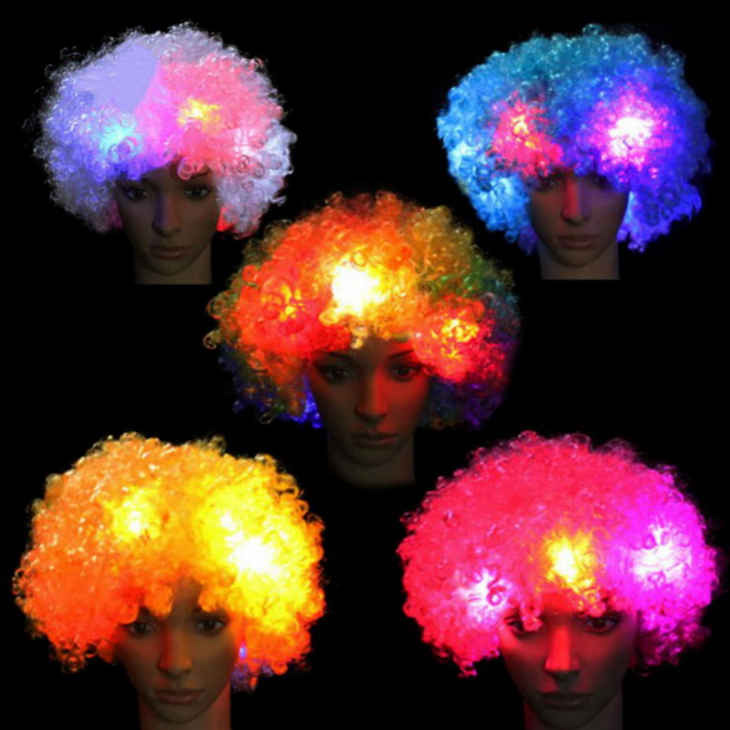LED Light Up Mohawk Wig Mohican Hairstyle Christmas Halloween Wigs cosplay hairs clown funny wig new brazil football fans SY0023