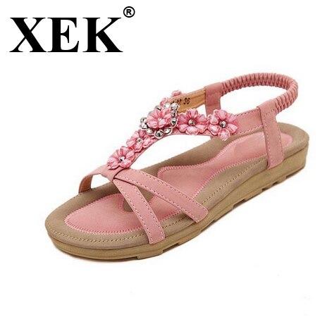 XEK 2018 Women Shoes Comfort Sandals Summer Fashion Flip Flops High Quality Flat Sandals Gladiator Sandalias WFQ20