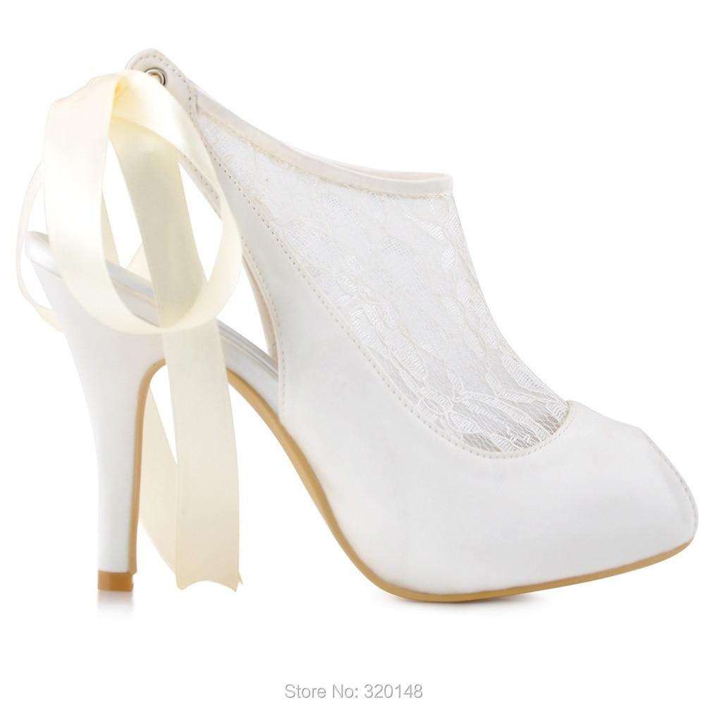 Pompes Ouvert À Femme Mariage Mariée Bout Courtes Ruban Chaussures Nouveau Mode Hp1525i Talons Partie De Ivoire Cravate Femmes Bottes 8xHv00