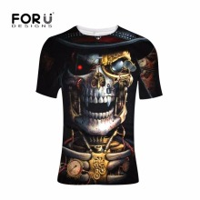 FORUDESIGNS Funny Skull Printing T Shirt Men Tee Shirt Teenagers Punk Style Cool Pattern T-shirt for Males Short Sleeve Tops Tee недорого
