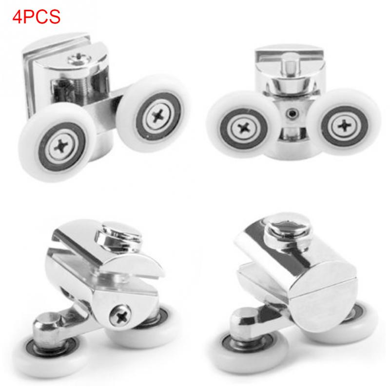 New 4Pcs/set Heavy Duty Zinc Alloy Twin Top Bottom Shower Door Wheels Rollers Runners Twin Shower Door Rollers zinc alloy arc bottom hanging folders small kitchen shower glass door folder