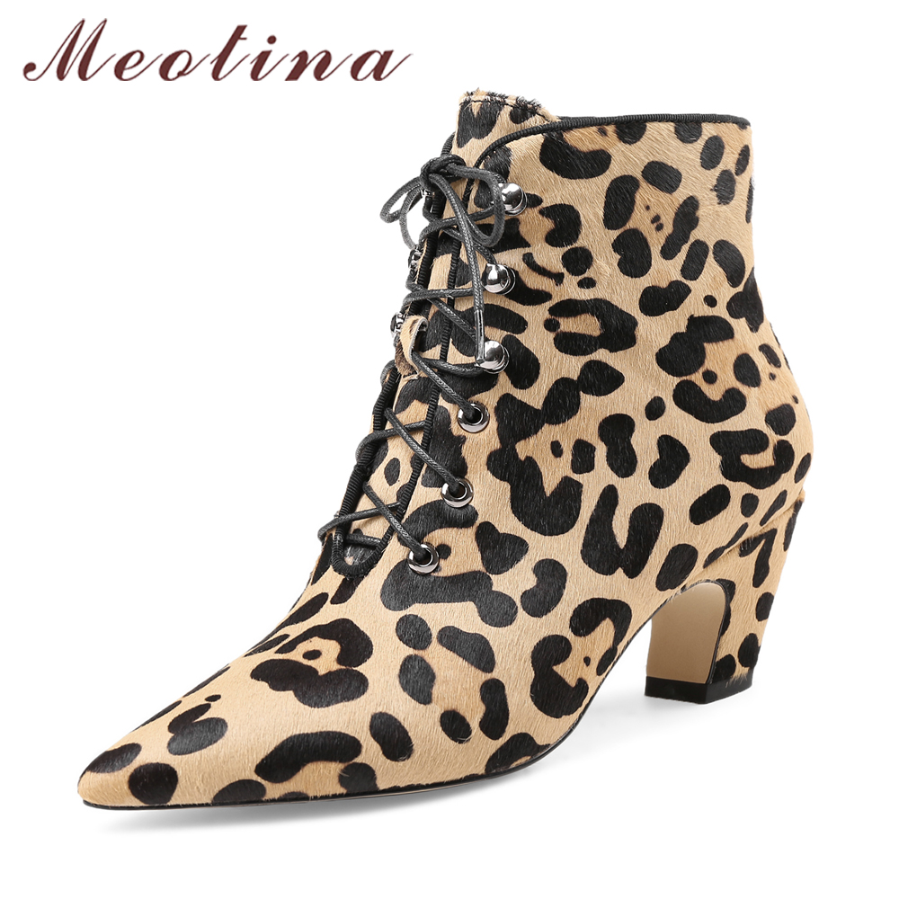 Meotina Luxury Designer Women 2018 Boots Horsehair Ankle Boots Winter Leopard High Heel Boots Spring Pointed Toe Lace Up Shoes designer luxury designer shoes women round toe high brand booties lace up platform ankle boots high quality espadrilles boot