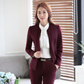 Moda Vino Pantsuits Formal Hembra 2016 Otoño Invierno Chaquetas Y Pantalones de Las Señoras Pantalones Conjuntos de Ropa de Trabajo Profesional de Negocios
