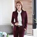 Vinho moda Terninhos Formal Fêmea 2016 Outono Inverno Desgaste do Trabalho Profissional de Negócios Conjuntos de Jaquetas E Calças Calças Das Senhoras