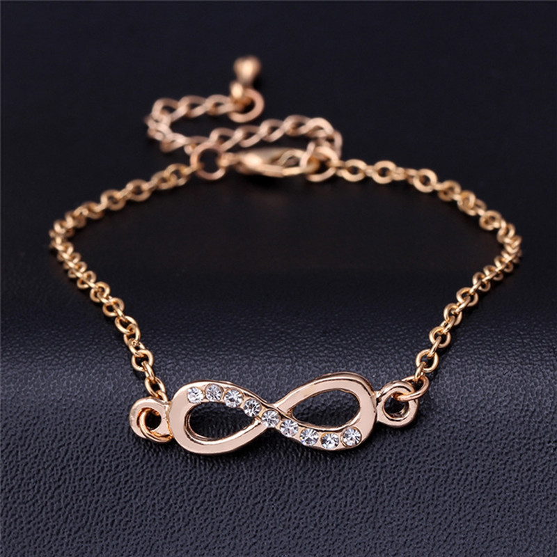 Fashion Femme Simple Design Rhinestone Numbers 8 Infinity Sign Bracelet & Bangle Gold/Silver Accessories Gift for Girls