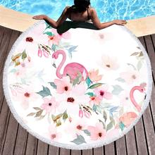 Large Tassels Round Microfiber Beach Towel Circle Flamingo Printed Cotton Summer Swimming Bath Yoga Mat Serviette De Plage