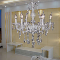 Crystal Chandelier 6 Arms Candle Lights Pendant Lamp For Dining Room