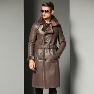 Image 2 - Luxury Mens Sheepskin Coat Genuine Leather Male Formal Casual Winter Long Thick Jacket Sheepskin Shearling Men Fur Outwear 5XL