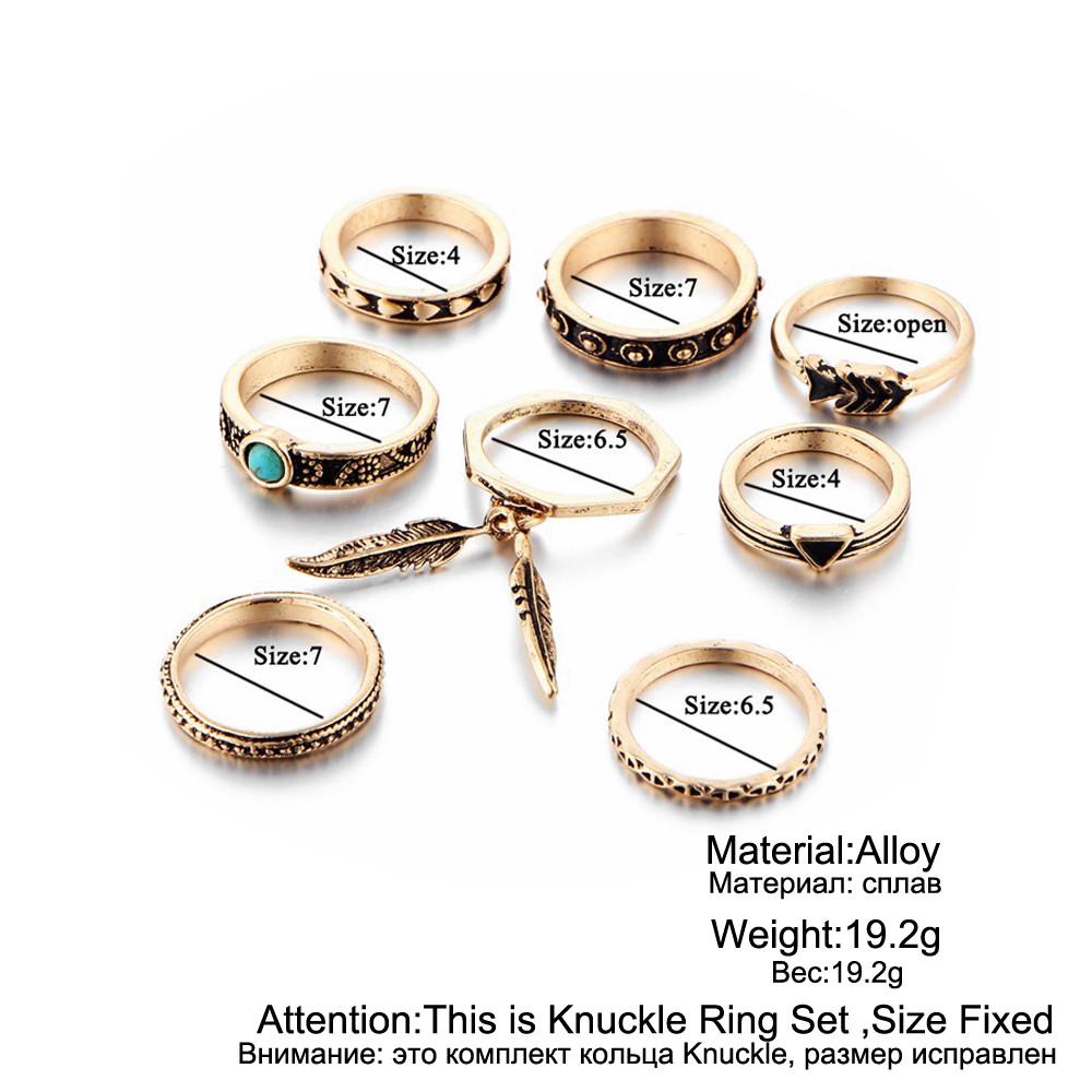 HTB1qoilRFXXXXbJapXXq6xXFXXXY Women 8-Pieces Gold Tone Retro Antique Punk Style Spirituality Lucky Knuckle Ring Set