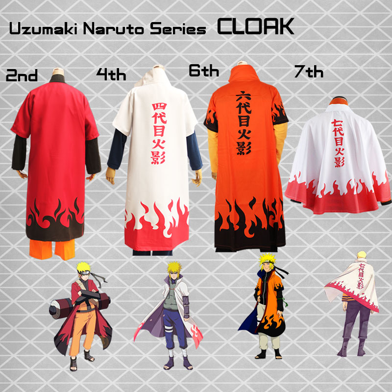 Anime Naruto Cosplay Costume Akatsuki Itachi Uchiha 2nd Hokage 4th 6th 7th Hokage Cloak
