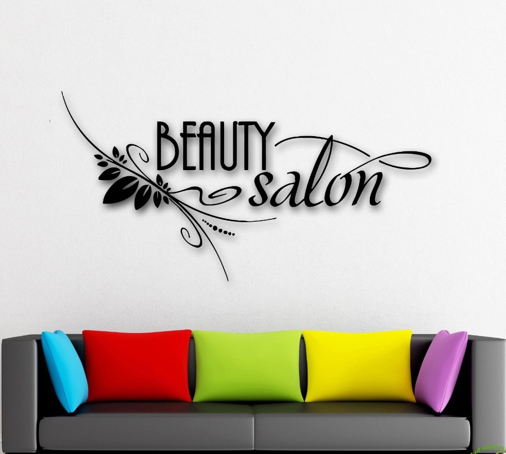 Hot selling salon vinyl wall decal beauty salon spa barber for Salon pictures for wall