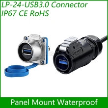 USB3.0 female Socket Panel Mount Adapter Cable Connector Dip quick USB Plug Waterproof Cnlinko Data Interface 1 unit