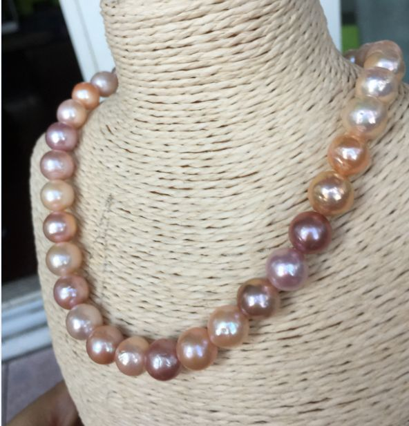 """gorgeous 11-12mm freshwater pink lavender multicolor pearl necklace18""""925silver"""