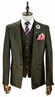 2018 Green tweed Designs Formal plus size Man suits Groom Suit For Men Slim Fit Tuxedo 3 Pieces Blazer wedding suits for men