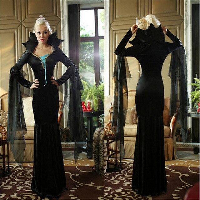 Halloween Costumes Adult Witch Queen Deluxe Vampire VampiressWomen Costume Suit Black Long Dress Halloween  Clothing for Women