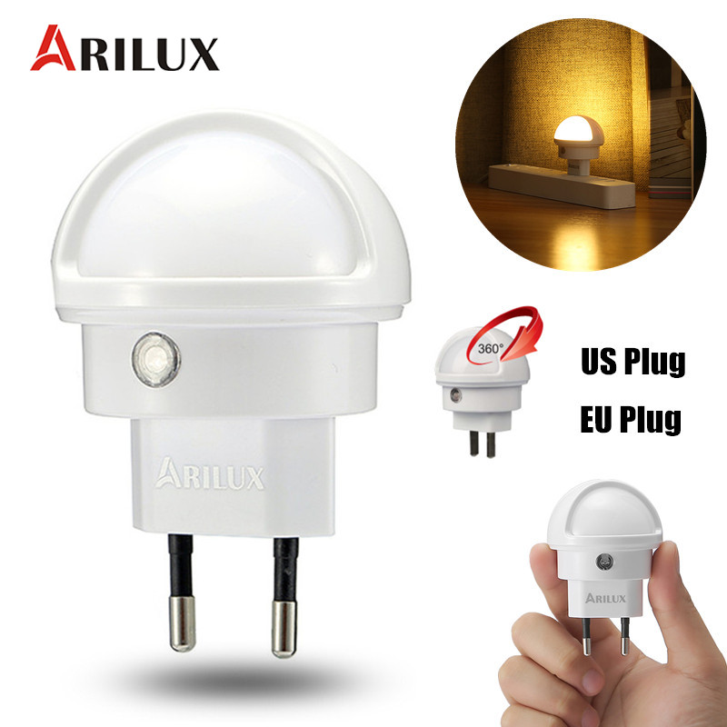 ARILUX Light Sensor LED Night Light Type 360 Angle Rotated Warm White LED Night Light Lamp EU/US Plug For Kids Indoor Lighting tw l08 white night light