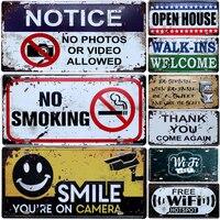 警告スローガン禁煙ヴィンテージ家の装飾バーパブホテル装飾金属看板アートの絵画メタルプラーク