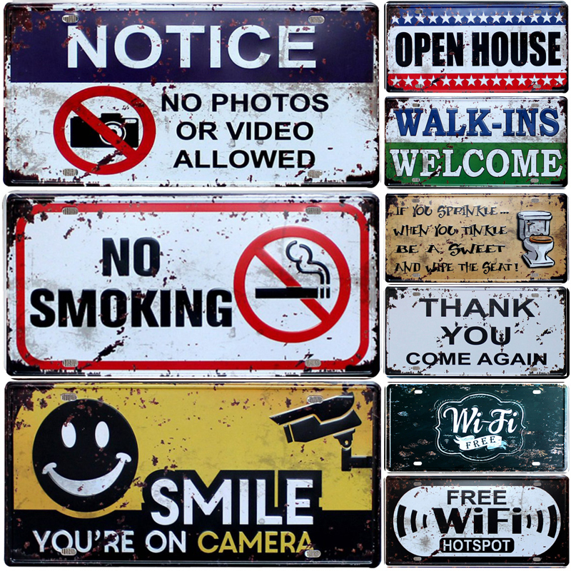 WARNING Slogan No Smoking Vintage Home Decor Metal Tin Sign Bar\Pub\Hotel Decorative Metal Sign Art Painting Metal Plaque(China)