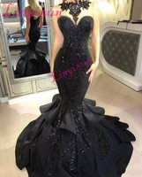 Stunning Black Long Prom Dresses 2018 Sexy Beaded Appliqued Cascading Ruffled Mermaid Court Train Backless Formal Evening Gown