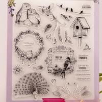 DIY Album Cards PDA Transparent Rubber Stamp Stamp Chapter Chapter Finished A4 Birds YJ6632