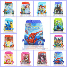 50Pcs Sofia/Spider Man/Iron Man Random Children Drawstring Backpacks Bags 36*28cm Non Woven Fabrics Kids Home Storage