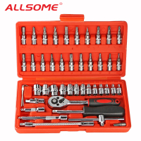 ALLSOME 46pcs Sleeve Set Tool Sleeve Ratchet Screwdriver Combination Socket Wrench Set Auto Repair Tools HT408