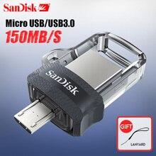 サンディスク otg usb フラッシュドライブ 32 ギガバイト 16 ギガバイトの usb 3.0 デュアルミニペンドライブ 128 ギガバイト 64 ギガバイト pendrives pc と android 携帯電話送料無料
