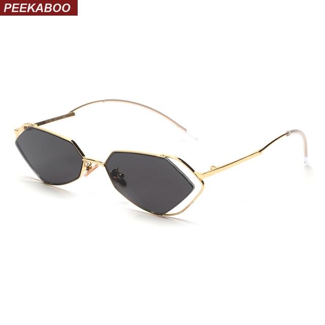 79277db29f Peekaboo irregular shaped sunglasses women small frame 2019 candy color  hollow metal sun glasses men fashion uv400 clear lens