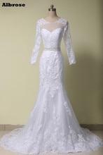 White Sexy Mermaid Wedding Dress 2017  Wedding Dresses Long Sleeve Appliques Beaded vestido de novia Chic robe de mariee