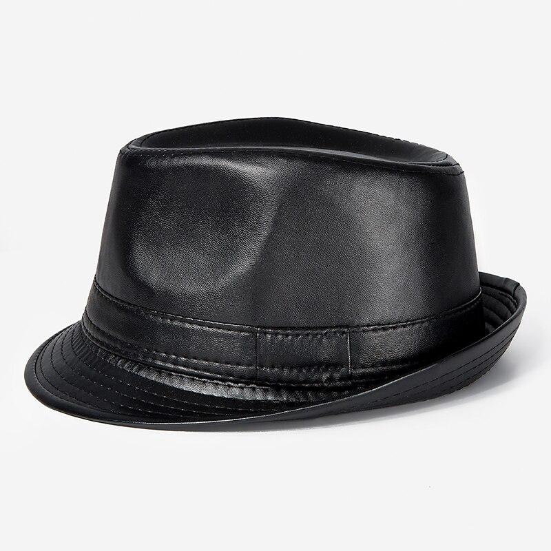 cf2010e2efc New PU Hat For Men Gentleman Fedoras Men s Smart Black Fedora Hats Cot  Winter Wide Brim Hat Male Head Accessories
