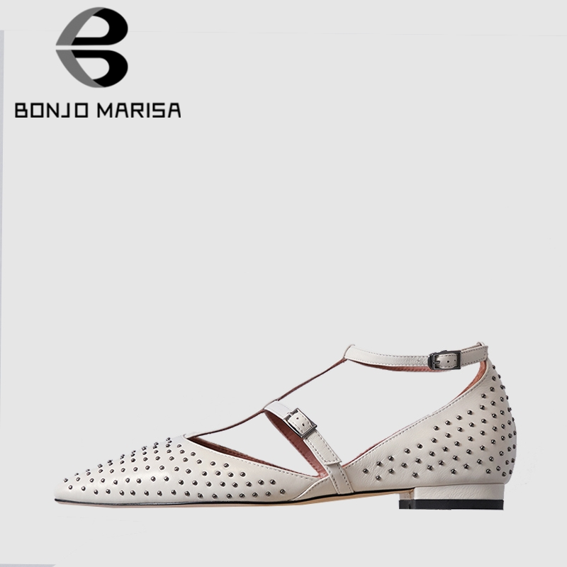 BONJOMARISA New Arrival Concise Summer Rivet Sandals Women Whole Genuine Leather 2019 Low Heels Shoes Woman Casual Summer ShoesBONJOMARISA New Arrival Concise Summer Rivet Sandals Women Whole Genuine Leather 2019 Low Heels Shoes Woman Casual Summer Shoes
