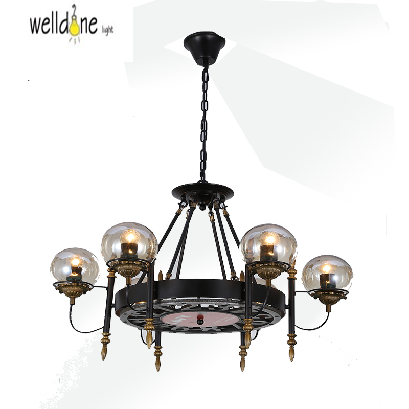 6Head American Country Loft Style Hemp Rope Chandelier Wrought Iron Rpoe Lamp Vintage Dining Room Light Free Shipping