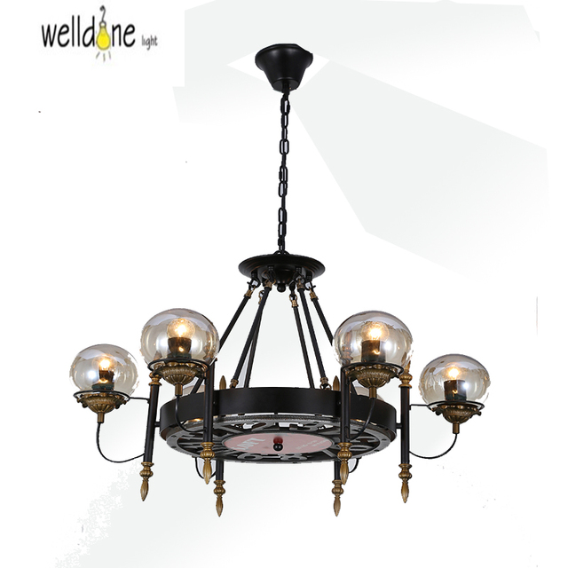 6Head American Country Loft Style Hemp Rope Chandelier Wrought Iron Rpoe Lamp Vintage Dining Room Light
