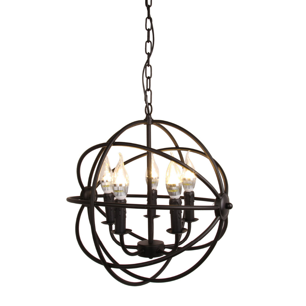 (Ship from US) Modern Industrial Chandelier 5 Light Metal Globe Chandelier Hanging Fixture Orb Vintage Round Ball Cage Light vintage clothing store personalized art chandelier chandelier edison the heavenly maids scatter blossoms tiny cages