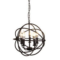 (Ship from US) Modern Industrial Chandelier 5 Light Metal Globe Chandelier Hanging Fixture Orb Vintage Round Ball Cage Light