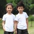 Ropa de 2015 niños del verano 100% algodón niños camiseta niña y niño de corta kids top de manga camisa básica blanca ocasional