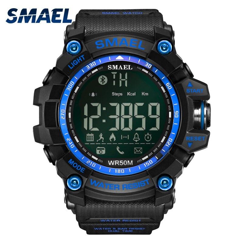 SMAEL android ios Bluetooth Montre Smart Watch Hommes Étanche Sport Poignet 1617B Militaire Relogio Masculino LED Smart Numérique Montres