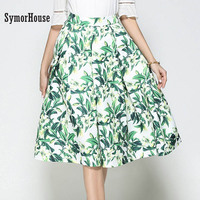 SymorHouse Hot Floral Print Knee Length Skirt Fashion 2017 9 Colors Vintage Ball Gown Pleated