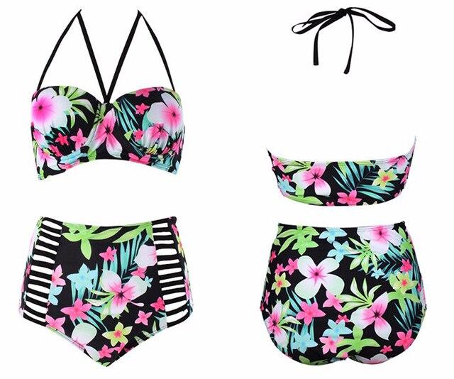 Floral Print High Waist Swimsuit 2017 Women Plus Size Sexy Bikini Set Push Up Swimwear Female Sexy Bikinis Large Size Biquini
