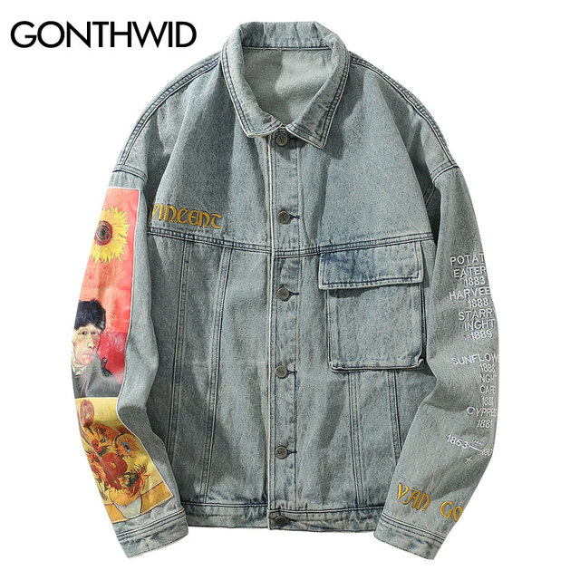 GONTHWID Van Gogh Painting Patchwork Embroidery Denim Jackets Hip Hop Casual Loose Jean Jackets Streetwear Fashion Outwear Coats 1