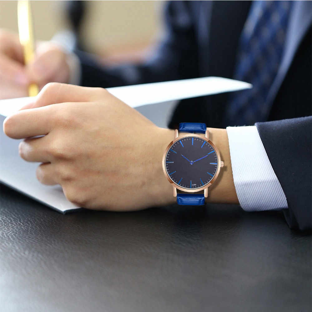 Mens Watches Top Brand simple Luxury Watch Men Leather Quartz Watch black dial relogio masculino relojes para hombre clock 40y