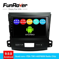 FUNROVER android 9.0 car dvd gps multimedia player radio For Mitsubishi Outlander 2006 2014 Peugeot 4007/Citroen C Crosser 2.5D