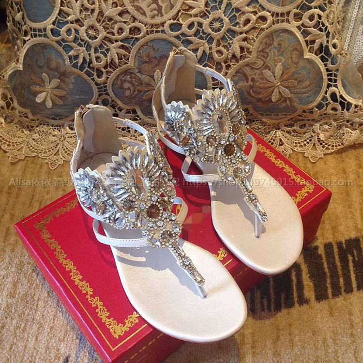 1215d514fdcfb4 Crystal Embellished Metallic Wedge Sandals Flip Flops Gladiator ...