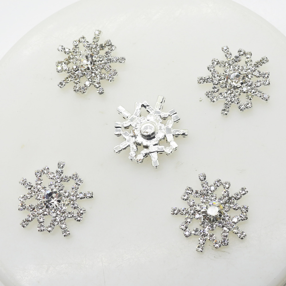 10pcs/lot 21mm Snowflake Rhinestone Button Artificial Crystal Metal Buttons For Wedding Hair Ornament Christmas Craft Decoration