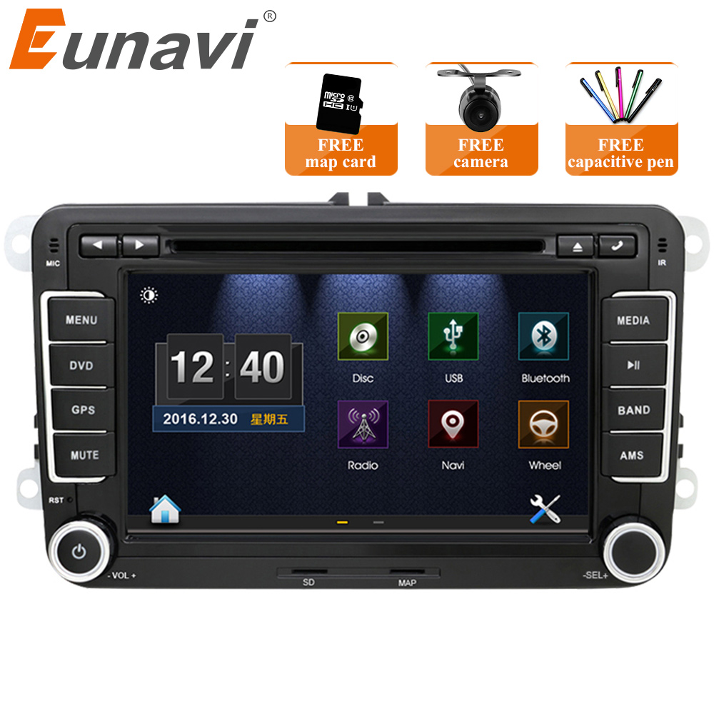 Eunavi 7 ''2 Din dvd плеер автомобиля радио gps навигация для VW Golf Polo Jetta Touran Mk5 Mk6 Passat b6 2din стерео Bluetooth SWC