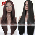 New Fashion Natural Straight Long Silk Wigs Black&99J Glueless High Temperature Smooth Hair Synthetic Lace Front Wigs for Women