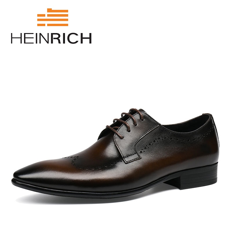 HEINRICH New 2018 Men Dress Shoes Formal Wedding Genuine Derby Leather Shoes Retro Business Office MenS Brogue Flats ShoesHEINRICH New 2018 Men Dress Shoes Formal Wedding Genuine Derby Leather Shoes Retro Business Office MenS Brogue Flats Shoes