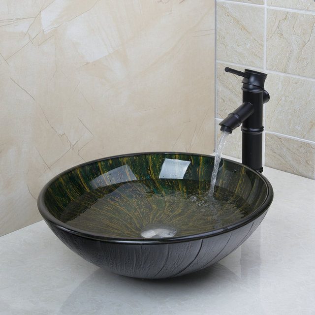 New Bathroomtempered Glass Basin Sink Oil Rubbed Bronze Finish Faucet Taps Bathroom Water Drain